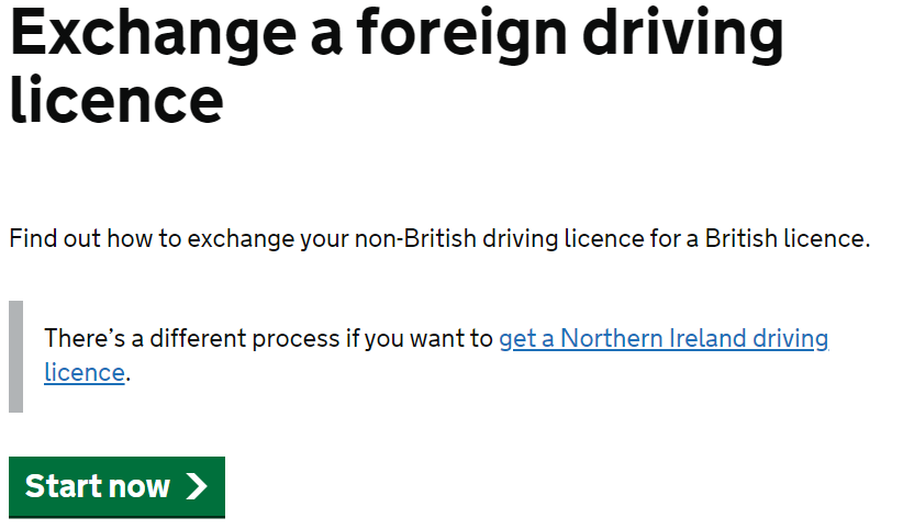 Exchange a foreign driving licence - TEST